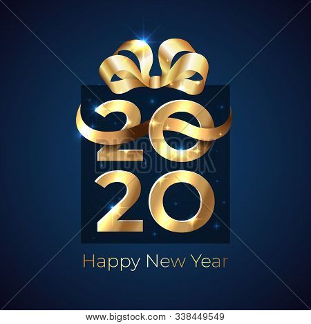 2020 New Year. Shiny Golden 2020 In Shape Of A Gift Box With Ribbon, Bow On Dark Background. Holiday