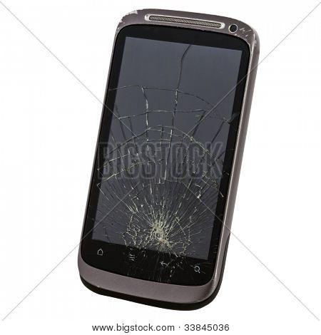 téléphone portable avec un écran cassé
