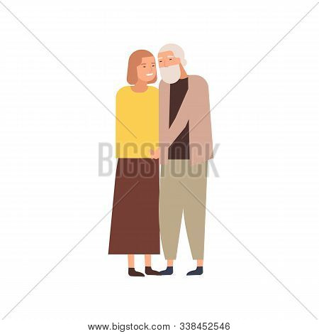 Modern Elderly Couple Flat Vector Illustration. Aged Marrieds, Wedded Pair, Husband And Wife In Year