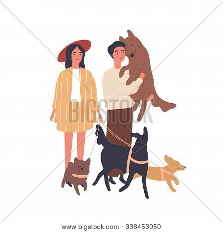 Dog Lovers Couple Flat Vector Illustration. Young Girl And Boy With Pets, Happy Family. Relationship