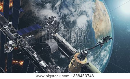 Close up of ISS orbiting realistic Earth globe. International Space Station rotate above planet surface with mainland and ocean. 3d render animation. Elements of this media furnished by NASA.