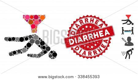 Mosaic Anal Enema Icon And Grunge Stamp Seal With Diarrhea Phrase. Mosaic Vector Is Created With Ana