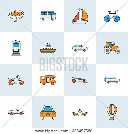 Transit Icons Colored Line Set With Plane, Taxi, Boat And Other Motorbike Elements. Isolated Illustr