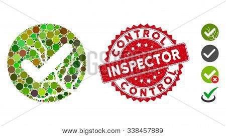 Collage Corrupted Trust Icon And Corroded Stamp Seal With Control Inspector Text. Mosaic Vector Is C