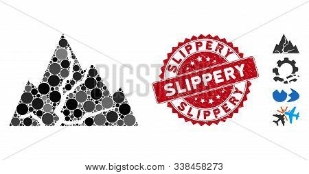 Mosaic Damaged Rocks Icon And Corroded Stamp Seal With Slippery Text. Mosaic Vector Is Composed With