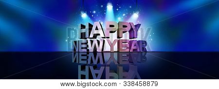 Happy New Year Greeting Background Banner Sign As A Text On A Stage With Spot Lights And Sparkles As