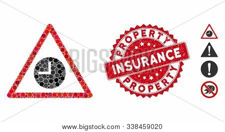 Mosaic Expired Warning Icon And Corroded Stamp Seal With Property Insurance Caption. Mosaic Vector I
