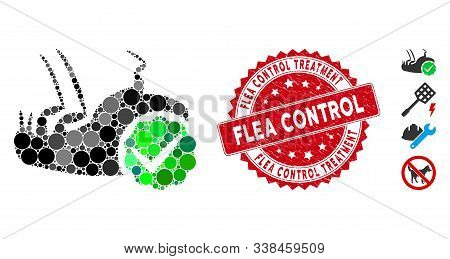 Collage Flea Control Icon And Grunge Stamp Watermark With Flea Control Treatment Caption. Mosaic Vec