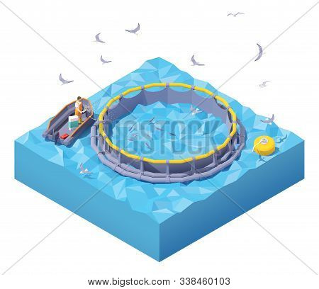 Vector Isometric Feeding Fish At Fish Farm. Fish Farm Worker In Inflatable Boat Feeding Fish Throwin