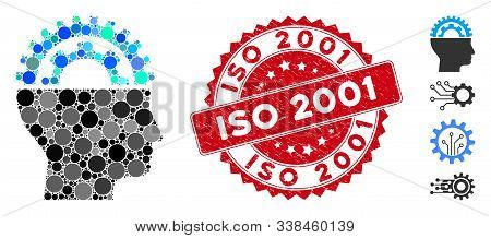 Mosaic Gear Engineer Icon And Grunge Stamp Seal With Iso 2001 Caption. Mosaic Vector Is Designed Fro
