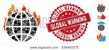 Mosaic Global Warming Fire Icon And Distressed Stamp Seal With Global Warming Text. Mosaic Vector Is