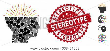 Mosaic Imagination Icon And Rubber Stamp Seal With Stereotype Text. Mosaic Vector Is Composed From I