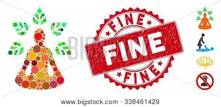 Collage Ioga Wellness Icon And Grunge Stamp Seal With Fine Caption. Mosaic Vector Is Designed With I