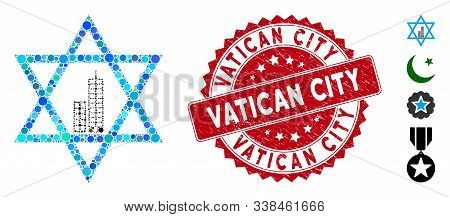 Mosaic Jerusalem Star Icon And Grunge Stamp Watermark With Vatican City Text. Mosaic Vector Is Creat