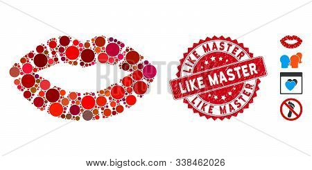 Mosaic Kiss Print Icon And Grunge Stamp Watermark With Like Master Phrase. Mosaic Vector Is Formed W
