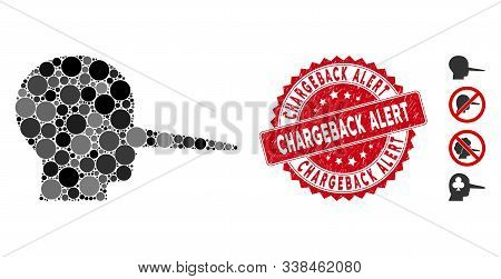 Mosaic Liar Icon And Rubber Stamp Seal With Chargeback Alert Caption. Mosaic Vector Is Designed With