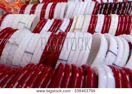 Traditional Bangles Shakha And Paula, One Pair Of Red And One Pair Of White Conch Shell Bangles, To