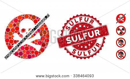 Mosaic No Toxins Icon And Grunge Stamp Watermark With Sulfur Phrase. Mosaic Vector Is Created With N