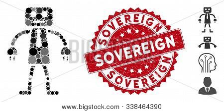 Mosaic Official Robot Icon And Rubber Stamp Seal With Sovereign Text. Mosaic Vector Is Formed With O