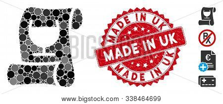 Mosaic Original Receipt Icon And Distressed Stamp Seal With Made In Uk Text. Mosaic Vector Is Design