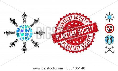 Mosaic Planetary Society Icon And Rubber Stamp Seal With Planetary Society Caption. Mosaic Vector Is