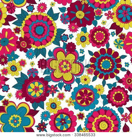 Psychedelic Hippie Background With Flowers. Seamless Pattern 60s Style