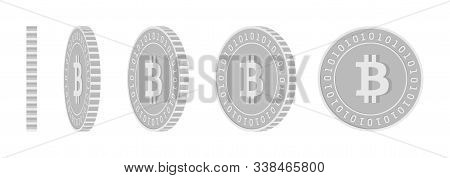 Bitcoin, Internet Currency Rotating Coins Set, Animation Ready. Black And White Btc Silver Coins Rot