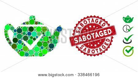 Mosaic Real Teapot Icon And Corroded Stamp Seal With Sabotaged Caption. Mosaic Vector Is Formed With