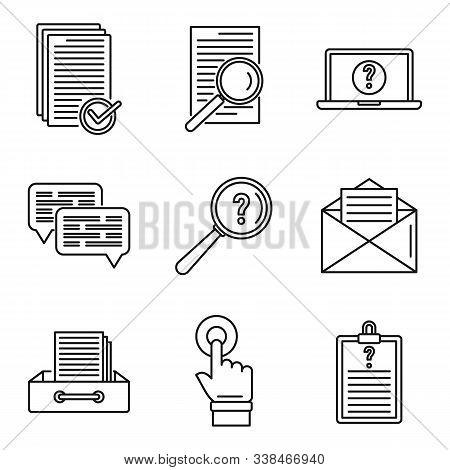 Request Online Form Icons Set. Outline Set Of Request Online Form Vector Icons For Web Design Isolat