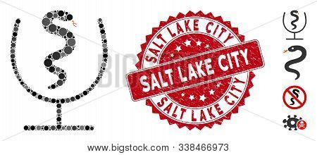 Mosaic snake poison icon and distressed stamp watermark with Salt Lake City text. Mosaic vector is composed with snake poison icon and with scattered round items. Salt Lake City stamp uses red color, poster