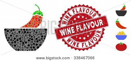 Mosaic Spicy Food Icon And Rubber Stamp Seal With Wine Flavour Phrase. Mosaic Vector Is Designed Wit