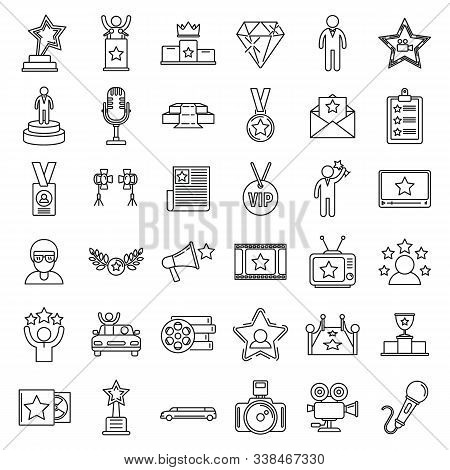 Celebrity Famous Icons Set. Outline Set Of Celebrity Famous Vector Icons For Web Design Isolated On