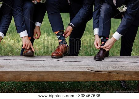 Stylish Mens Socks. Stylish Suitcase, Mens Legs, Multicolored Socks And New Shoes. Concept Of Style,