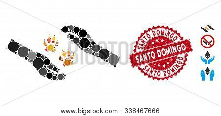 Mosaic Tiger Care Hands Icon And Rubber Stamp Watermark With Santo Domingo Text. Mosaic Vector Is De