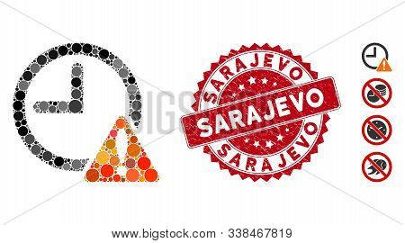 Mosaic Time Warning Icon And Grunge Stamp Watermark With Sarajevo Caption. Mosaic Vector Is Designed
