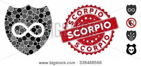 Mosaic Unlimited Shield Icon And Corroded Stamp Seal With Scorpio Phrase. Mosaic Vector Is Designed