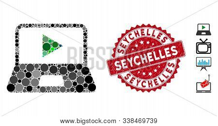 Mosaic Webcast Laptop Icon And Rubber Stamp Seal With Seychelles Phrase. Mosaic Vector Is Designed F