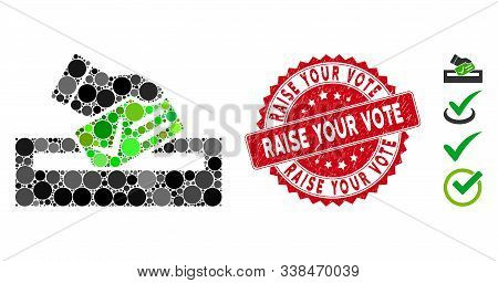 Mosaic Your Vote Icon And Distressed Stamp Seal With Raise Your Vote Phrase. Mosaic Vector Is Create