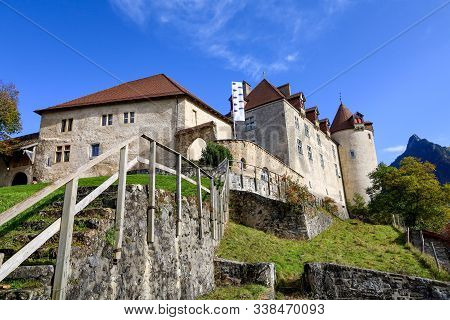 The Gruyeres Castle On The Top Hill Is The Most View At Fribourg,switzerland
