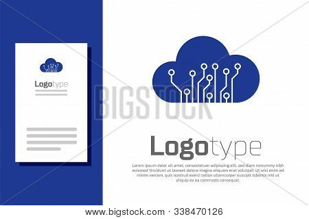 Blue Internet Of Things Icon Isolated On White Background. Cloud Computing Design Concept. Digital N