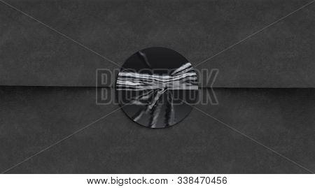 Blank Black Crumpled Sticker On Dark Textured Paper Mockup, 3d Rendering. Empty Adhesive Badge On Ma