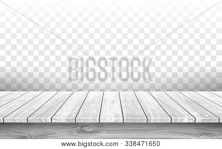 Wooden Gray Table Top With Aged Surface, Realistic Vector Illustration. Vintage Dining Table Made Of