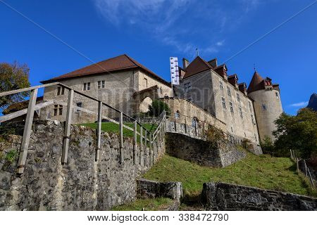 Fribourg,switzerland-october 23,2019:the Gruyeres Castle On The Top Hill Is The Most View At Fribour