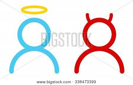 Vector Set Icons Angel And Devil In Flat Style. Angel And Devil In Simple Style.
