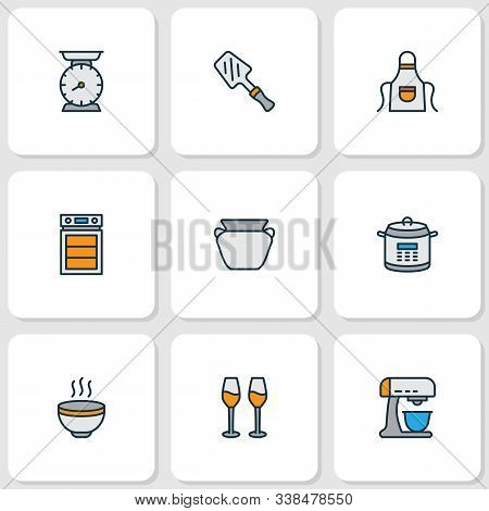 Culinary Icons Colored Line Set With Hot Soup, Oven, Kitchen Scales And Other Cabernet Elements. Iso