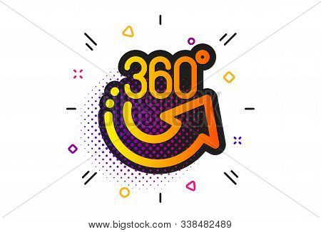 Vr Simulation Sign. Halftone Circles Pattern. 360 Degrees Icon. Panoramic View Symbol. Classic Flat