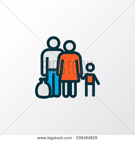 Refugee icon colored line symbol. Premium quality isolated fugitive element in trendy style. poster