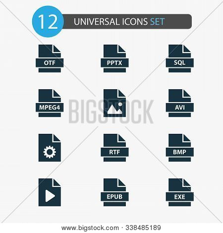 Types Icons Set With Image, System, Exe And Other Document Elements. Isolated Illustration Types Ico
