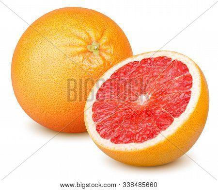 Isolated Grapefruits. Whole Grapefruit And Slice Of Fresh Grapefruit Isolated On White Background Wi