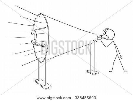 Vector Cartoon Stick Figure Drawing Conceptual Illustration Of Man Or Businessman Shouting Or Scream